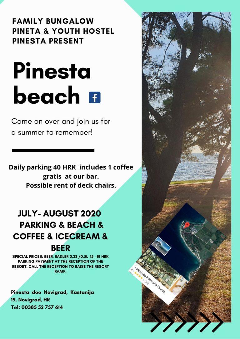 pinesta beach parkirišče in plaža 2020